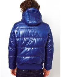 Patagonia Blue Gstar Quilted Bomber Jacket Whistler Hooded Chintz for men