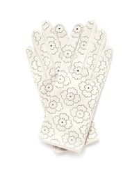 Georges Morand White Floral Perforated Gloves