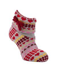 John Lewis Red Bootie Slipper Socks