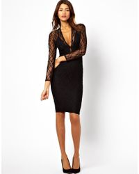 John Zack Black Midi Body Conscious  in Lace with Plunge Neck Dress
