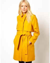 Just Female Yellow Wool Belted Coat