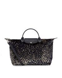 Longchamp Black Le Pliage Plumes Large Handbag
