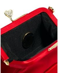 Love Moschino Red Heart Clasp Clip Top Evening Clutch Bag