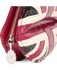 Lulu Guinness Red Union Jack Lips Snakeskin Clutch