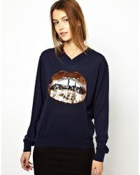 Markus Lupfer Blue Copper Sequin Lip V Neck Sweater