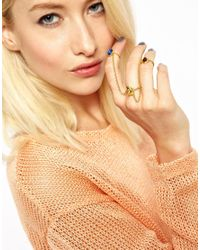 ASOS - Metallic Me Zena Magical Multifinger Unicorn Ring - Lyst
