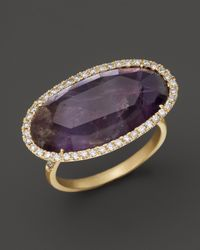 Meira T | Purple Diamond And Rough Amethyst Ring In 14K Yellow Gold | Lyst