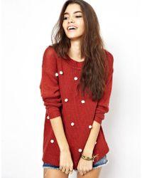 MINKPINK Brown Spot Me Pom Pom Sweater