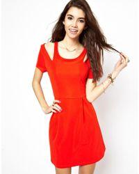 MINKPINK Red Skater Dress with Cold Shoulder