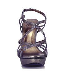 Pelle Moda - Metallic Leather Rhinestone Platform Sandal - Lyst