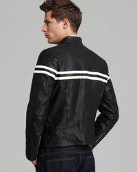 Vince - Black Contrast Stripe Moto Leather Jacket for Men - Lyst