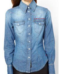 Vivienne Westwood Anglomania Vivienne Westwood Anglomania For Lee Western Shirt in Vintage Blue