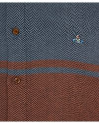 Vivienne Westwood Blue Herringbone Contrast Panel Shirt for men