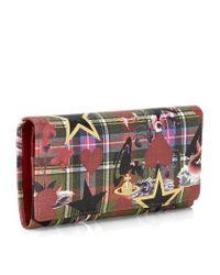 Vivienne Westwood Multicolor Tartan Sea Monster Long Flap Wallet