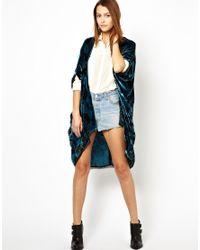 Winter Kate Blue Printed Velvet Kimono Jacket