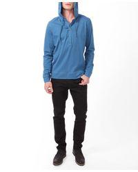 Forever 21 Blue Hooded Henley Pullover for men