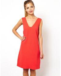 ASOS - Red Deep Plunge Mini Shift Dress - Lyst