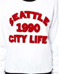 ASOS White Sweatshirt with Seattle Towling