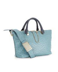 Chloé Blue Small Ostrich Baylee Bag