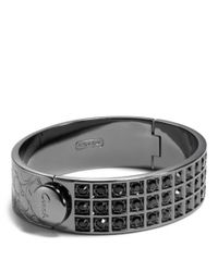 COACH - Black Small Beveled Pave Bracelet - Lyst