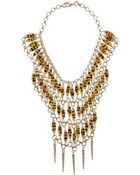 Fallon - Metallic Beaded Durango Bib Necklace - Lyst