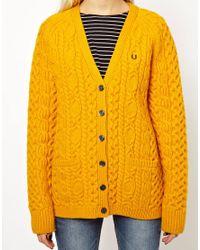 Fred Perry Yellow British Knitting Aran Cardigan