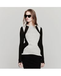Helmut Lang Gray Obstructed Border Sweater