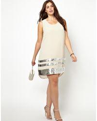 KTZ Natural Junarose Sequin Hem Dress