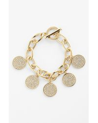 Lauren by Ralph Lauren | Metallic Pavé Disc Chain Bracelet | Lyst