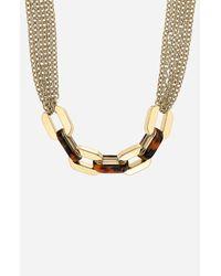 MICHAEL Michael Kors   Metallic Modernist Glitz Long Multi Chain Necklace   Lyst