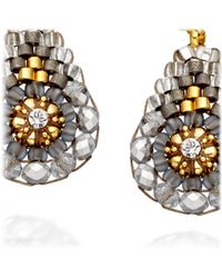 Miguel Ases - Metallic Pyrite Small Drop Earrings - Lyst
