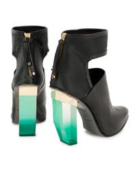 Miista Green Debora Cutout Leather Ankle Boots