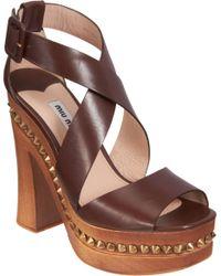 Miu Miu | Brown Studded Platform Sandal | Lyst
