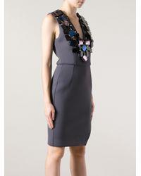 MSGM Gray Embellished Neoprene Sleeveless Dress