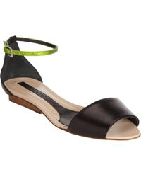Narciso Rodriguez Brown Wide Band Sandal with Lizardskin Ankle Strap