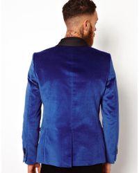 ASOS Blue Skinny Blazer in Velvet for men