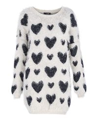 Quiz | Blue Fuzzy Knit Lurex Heart Jumper | Lyst