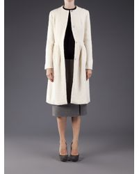 Simone Rocha White Long Metallic Thread Coat