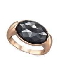Swarovski | Metallic Rosegold Tone Jet Hematite Oval Crystal Ring | Lyst