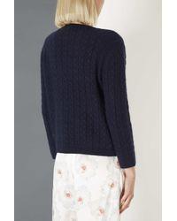 TOPSHOP Blue Cable Knit Jumper By Boutique