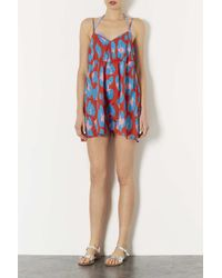 TOPSHOP Red Leopard Baggy Playsuit