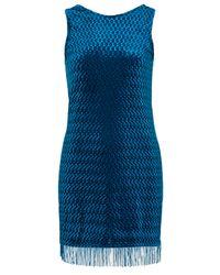 TOPSHOP | Blue Embossed Velvet Tunic | Lyst