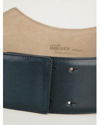 Alexander McQueen Green Curved Leather Belt