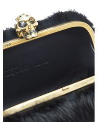 Alexander McQueen Black Rabbit Fur Skull Box Clutch