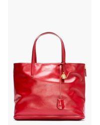 Alexander McQueen - Red Leather Skull Shopper Tote - Lyst