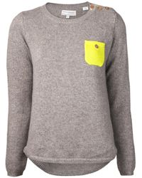 Chinti & Parker Gray Chinti and Parker Cashmere One Pocket Sweater