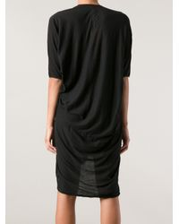 DRKSHDW by Rick Owens - Black Vneck Draped Dress - Lyst