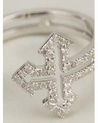 Elise Dray - Metallic Rolled Cross Ring - Lyst