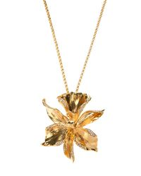 Emanuel Ungaro Metallic Flower Pendant Necklace