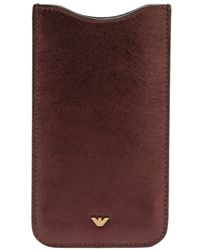 Emporio Armani Brown Calf Leather Phone Case